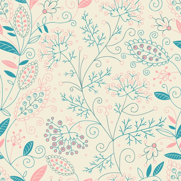 Beautiful floral seamless pattern. Premium Vector