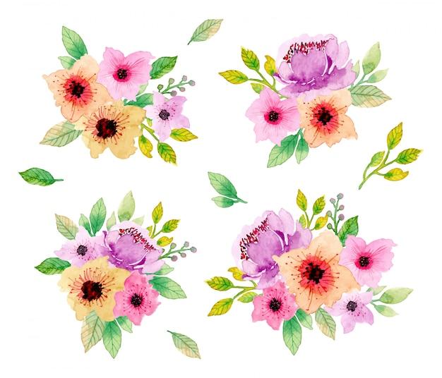 Beautiful floral watercolor arrangement collection Premium Vector