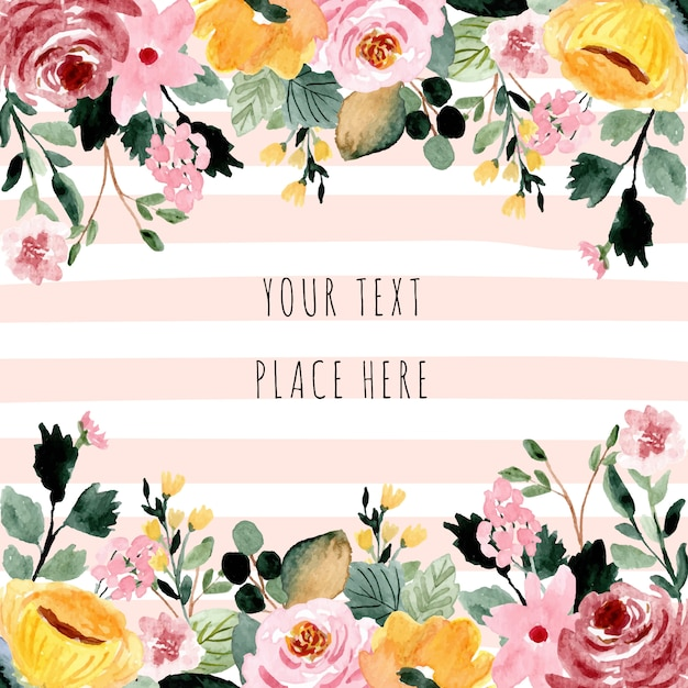 Beautiful floral watercolor background frame Premium Vector