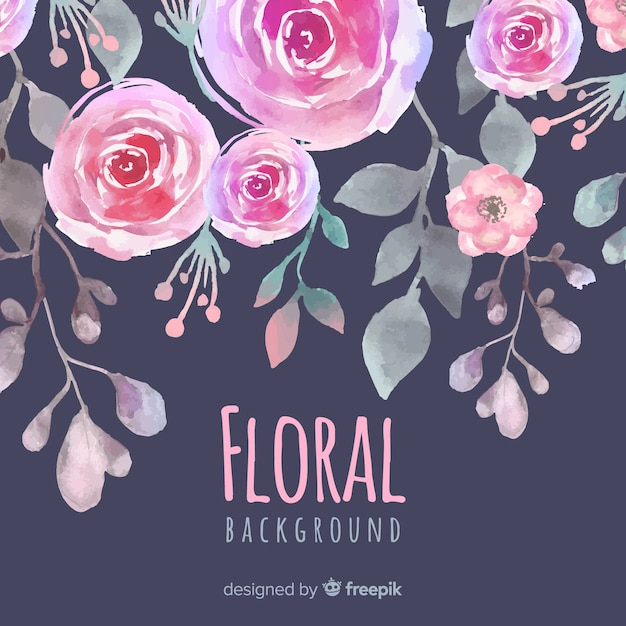 Beautiful floral watercolor background Free Vector