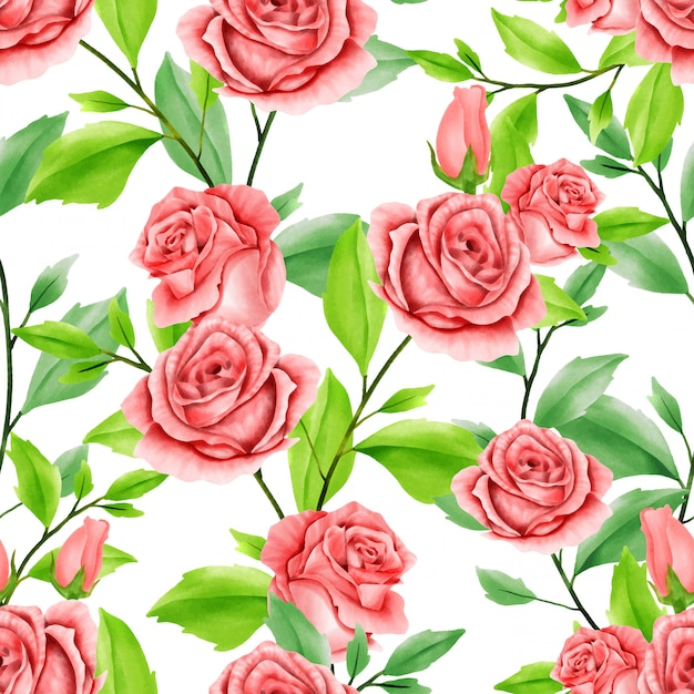 Beautiful floral watercolor leaves seamless pattern red rose Premium Vector
