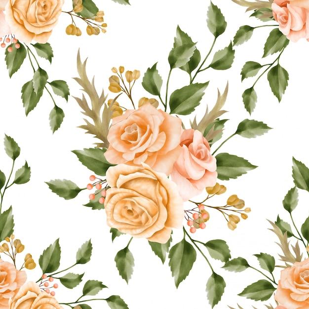 Beautiful floral watercolor leaves seamless pattern retro Premium Vector
