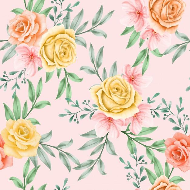Beautiful floral watercolor leaves seamless pattern yellow Premium Vector