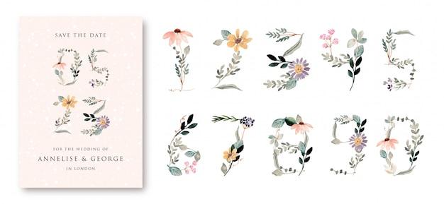 0から9セットまでの美しい花の水彩画の数字 Premiumベクター