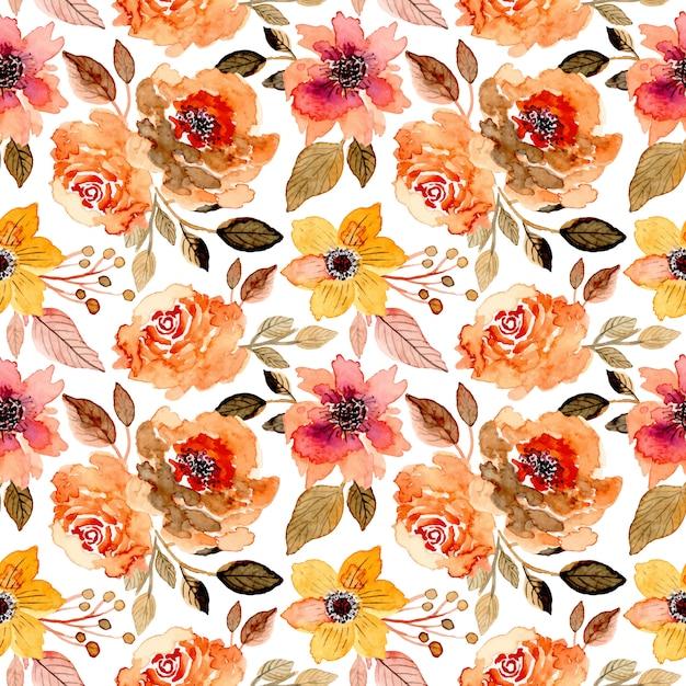 Beautiful floral watercolor seamless pattern Premium Vector