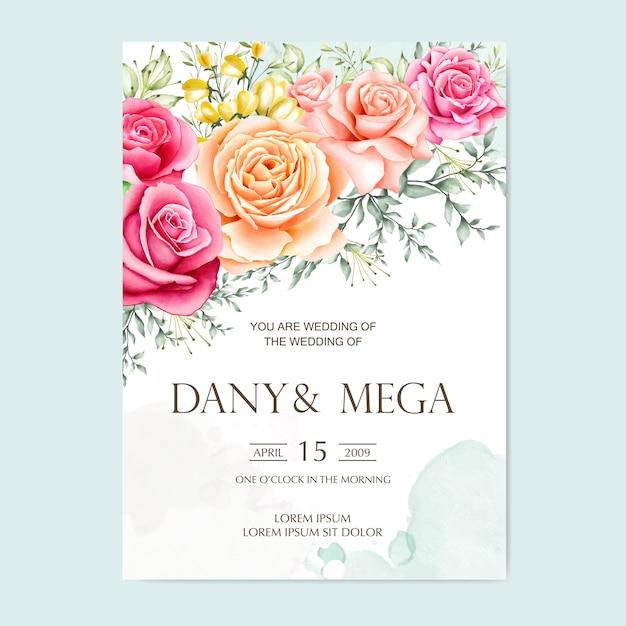 premium vector  beautiful floral watercolor wedding card