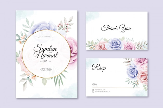 Beautiful floral on wedding card template Premium Vector