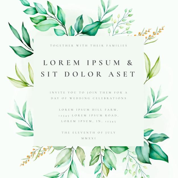 beautiful floral wedding card template  premium vector