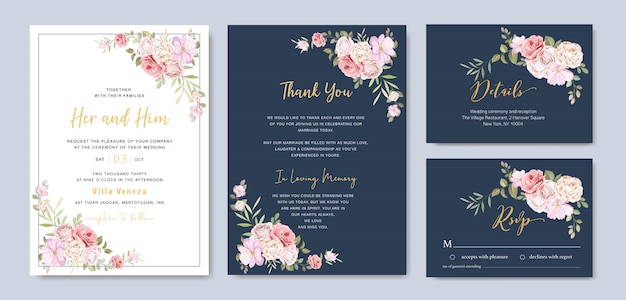 Beautiful floral wedding card with roses frame template Premium Vector