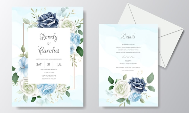 Beautiful floral wedding invitation card template set with watercolor Premium Vector