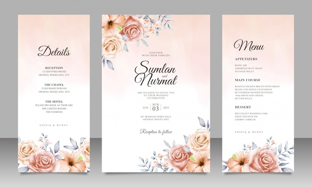 Premium Vector Beautiful Floral Wedding Invitation Card Template With Watercolor Background