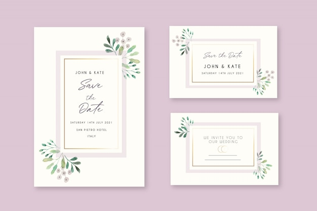 Beautiful floral wedding invitation cards Free Vector