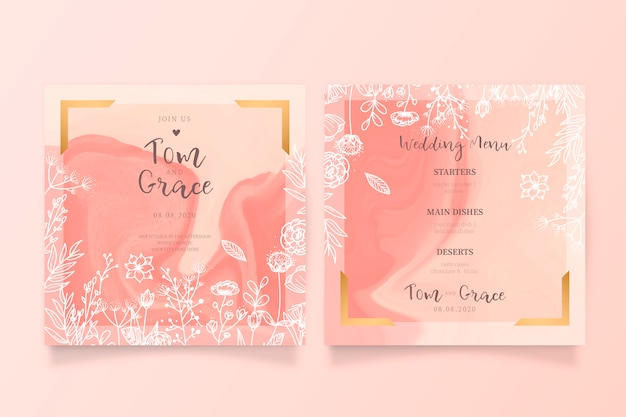 Beautiful floral wedding invitation and menu template Free Vector