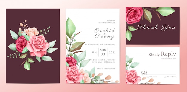 Beautiful floral wedding invitation template set of roses flowers Premium Vector
