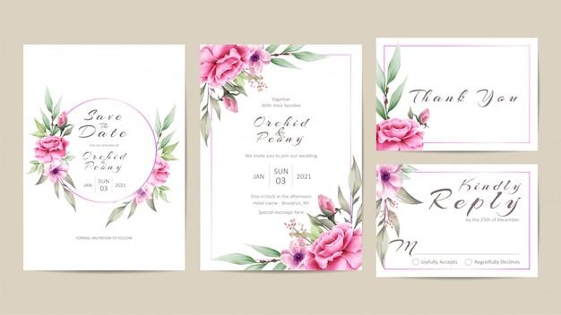 Beautiful floral wedding invitation template set of roses and peonies Premium Vector