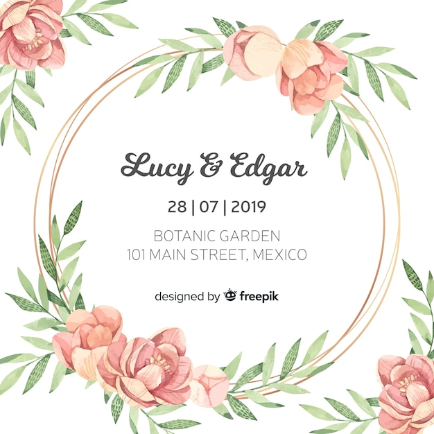 Beautiful floral wedding invitation template Free Vector