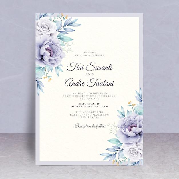 美しい花の結婚式の招待状のテーマ Premiumベクター