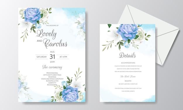 Красивые цветочные свадебные приглашения с цветущими розами и зелеными листьями Premium векторы