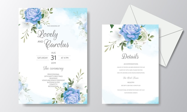Beautiful floral wedding invitation with blooming roses and green leaves Premium Vector