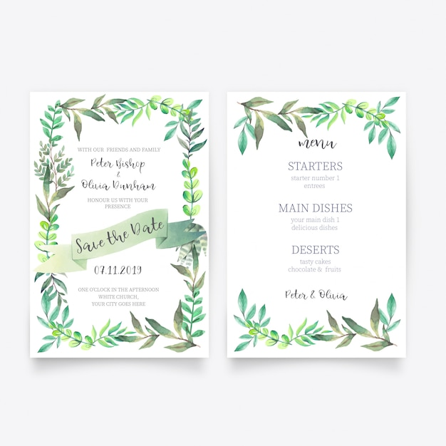 Beautiful floral wedding invitation with menu template Free Vector