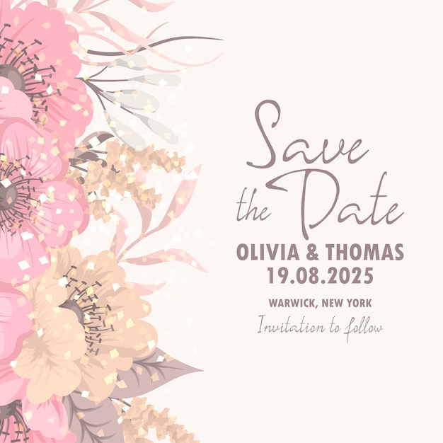 Beautiful floral wedding invitation Premium Vector