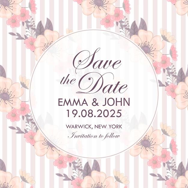 Beautiful floral wedding invitation Premium Vector