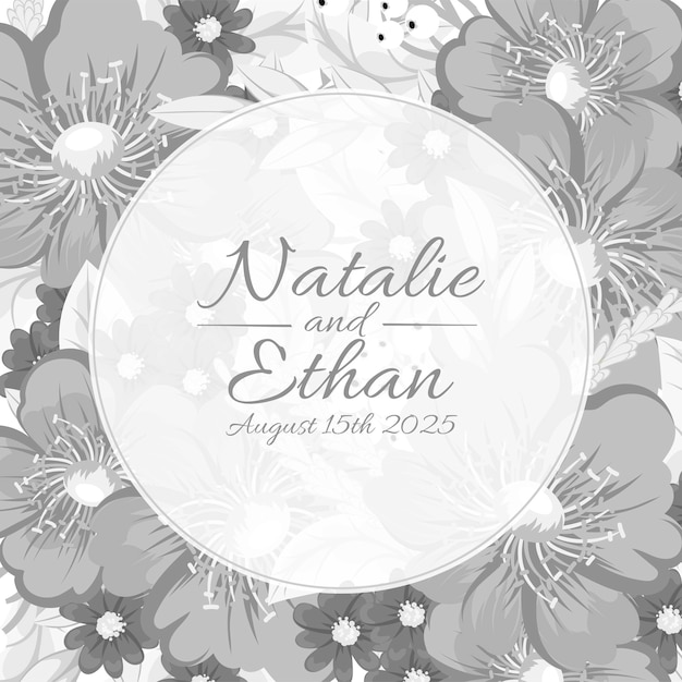 Beautiful floral wedding invitation Free Vector