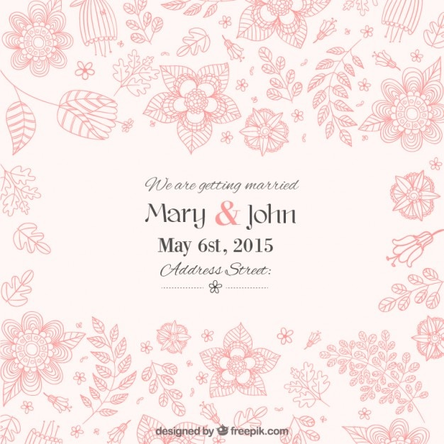 Beautiful Floral Wedding Invitation Vector