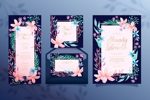 Beautiful floral wedding stationery Free Vector