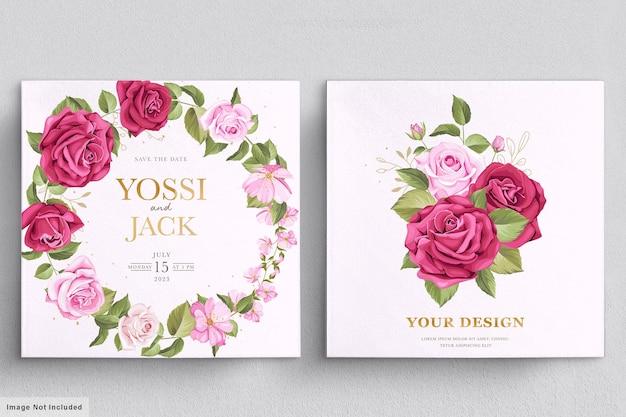 Красивый цветочный венок и букет с элегантным цветочным Бесплатные векторы