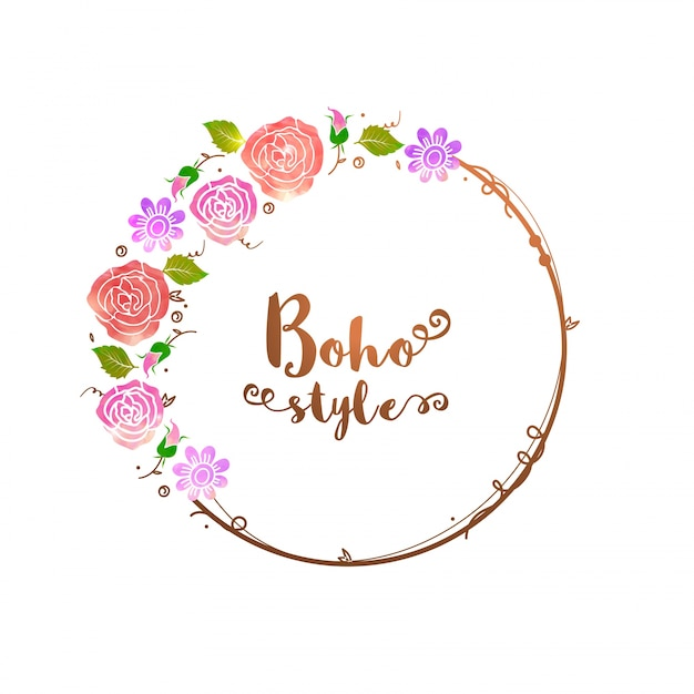 Beautiful Floral Wreath In Boho Style Vector Premium Download