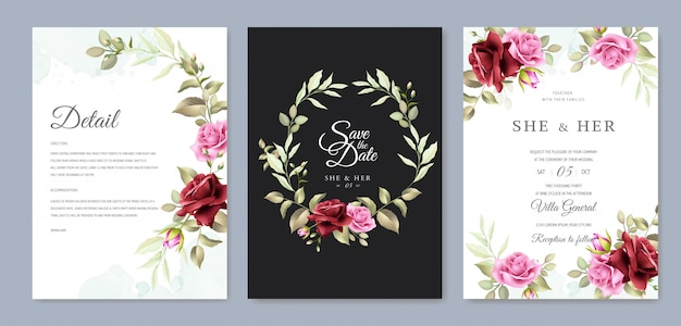 Beautiful floral wreath wedding card template Premium Vector