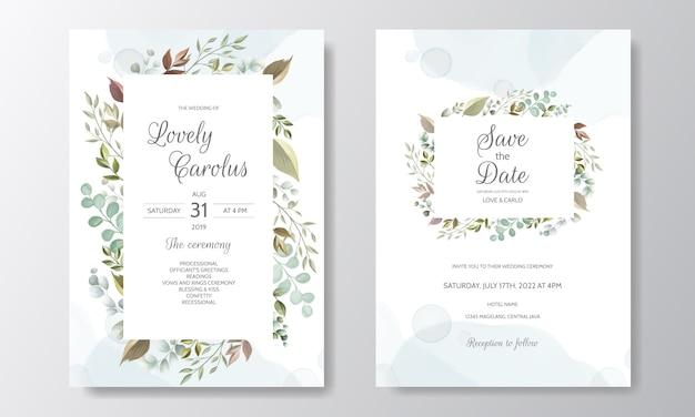 Beautiful floral wreath wedding invitation card template Premium Vector