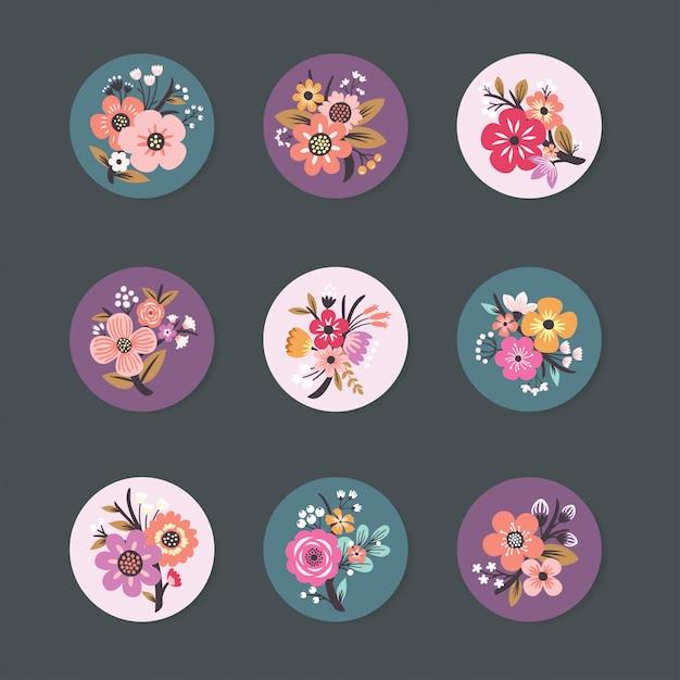 Коллекция дизайнов булавок с beautiful floral Premium векторы