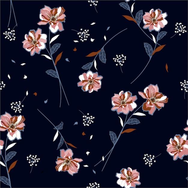 美しい花柄と風のシームレスなパターンを吹くユニークな草原の花 Premiumベクター