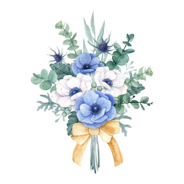 Красивый букет цветов с белыми и синими цветами анемона Premium векторы