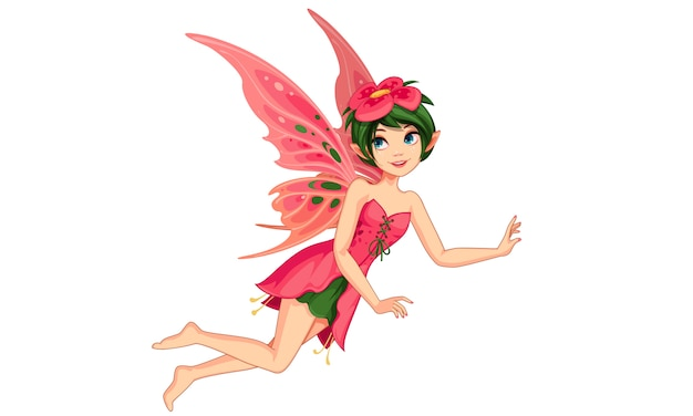 Beautiful flower fairy Premium Vector