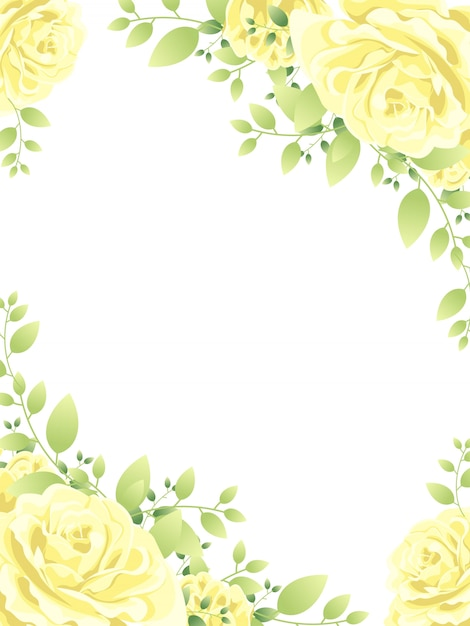 Beautiful flower frame background Premium Vector