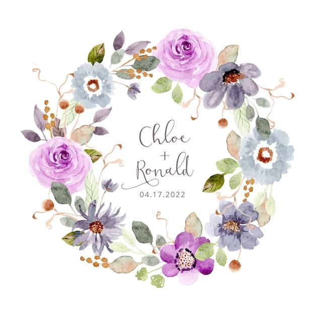 Beautiful flower garden watercolor wreath