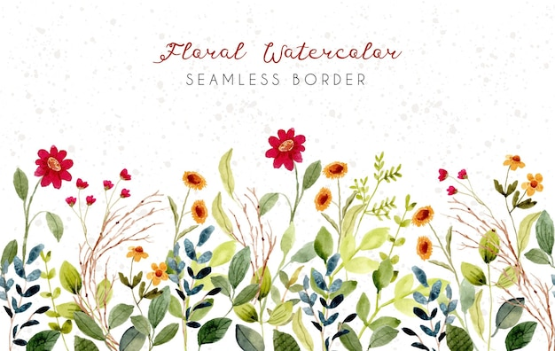 Красивый цветочный луг акварель бесшовные границы Premium векторы