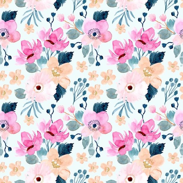 Beautiful flower watercolor seamless pattern Premium Vector