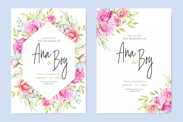 beautiful flower wedding card template  premium vector