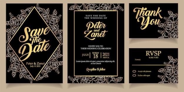 Beautiful flower wedding invitation line floral elegant Premium Vector