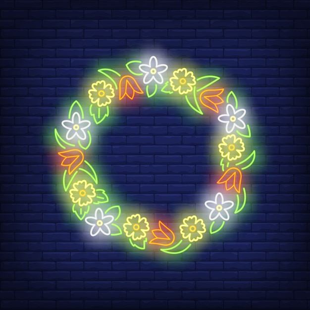 Beautiful flower wreath neon sign Free Vector