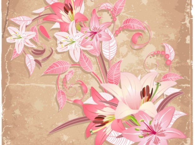 Beautiful flowers abstract art background vector set