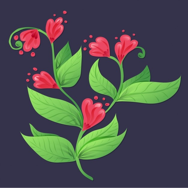Beautiful flowers on a blue background Vector | Free Download
