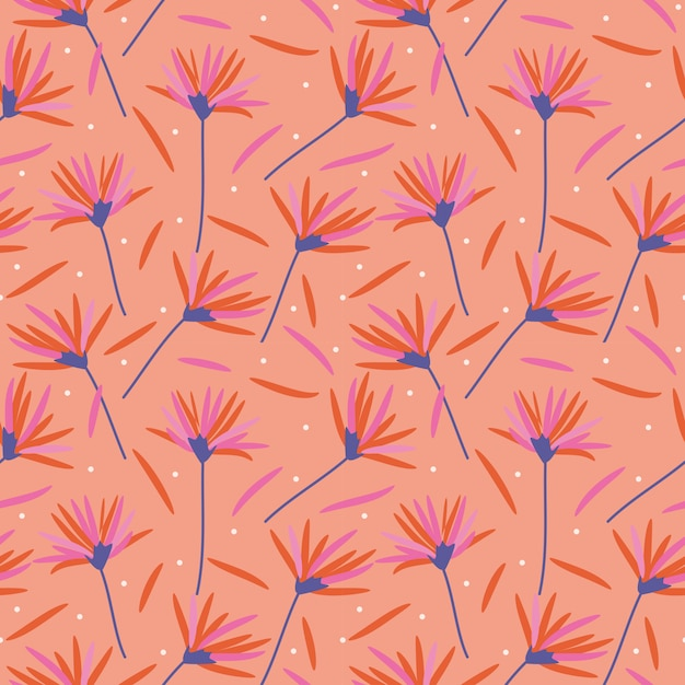Beautiful flowers in coral colors seamless pattern. Premium Vector