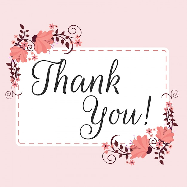 Beautiful Flower Thank You: Beautiful Flowers Decorated Label With Text Thank You