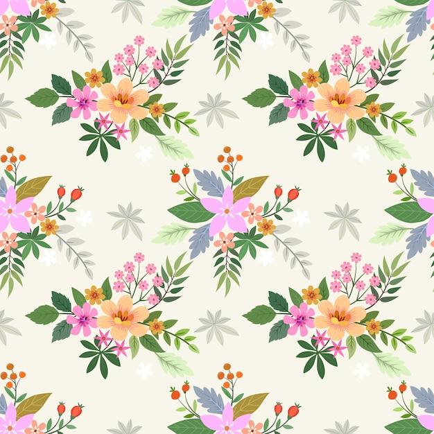 ビンテージカラーパターンの美しい花。 Premiumベクター