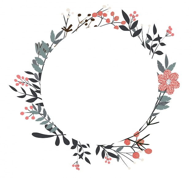 Beautiful flowers and twigs in a round composition Premium Vector